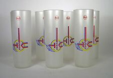 Set 7 RCA Advertising Glasses Tumblers Frosted Libby Mid Century Size 7 In Tall