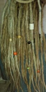 Set of 8 DREADLOCK BEADS & Bamboo Cord Dread Wraps Boho Hippie Wood Stone Metal
