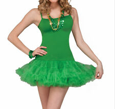 St Patricks Pats Ladies Womens Costume Dress Irish Paddys Tutu Frock *Free gift