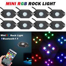 8X Pod Wireless Bluetooth CREE RGB LED Rock Lights Flashing Multi Truck Offroad