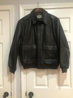 VTG LL Bean Black Leather A-2 Bomber Jacket Mens XL USA Made Thinsulate