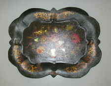 Hand-painted Floral Toleware Tray with Mother of Pearl Inlay (Tray B)