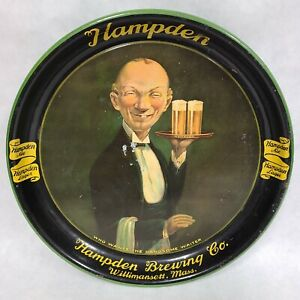 1934 Hampden Brewing Handsome Waiter Metal Serving Beer Tray Mass Advertising