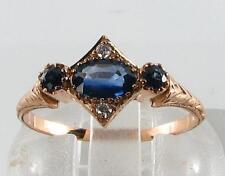 DAINTY 9CT ROSE GOLD BLUE SAPPHIRE  DIAMOND ART DECO INS RING FREE RESIZE