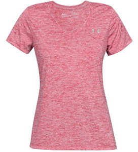Under Armour Tech V-neck Twist Short Sleeve Tee Pink W Silver Womens XS - SM NEW