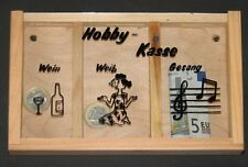 Spardose, Hobby-Kasse, Wein, Weib & Gesang, unbehandeltes Holz, Glas, NEU