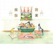 Whippet greyhound dog Bath Watercolour/ink 17 dogs