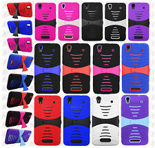 For Boost Mobile ZTE MAX N9520 Hard Gel Rubber KICKSTAND Case Phone Cover