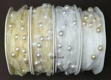 2 m Organzaband (0,60 €/m) Perlenband Perlen creme weiß Hochzeit Kopfschmuck