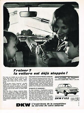 PUBLICITE ADVERTISING 054  1965  DKW   F 102    stable & puissante