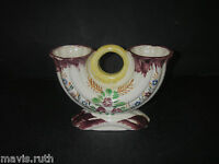 "Made in Japan ART POTTERY Ceramic Double VASE handpainted Floral 4 5/8"" high"