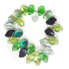 Evergreen Gree Leaf Beads Mix Czech Pressed Glass Dark Light Ab and Vitral