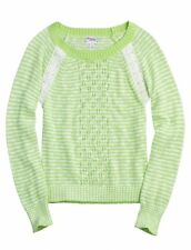 NWT Justice Girls Lime & White Lace Striped Lightweight Sweater U Pick Size! NEW