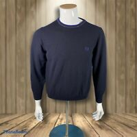 Vintage Fred Perry Jumper Sweater Merino Condition Dark Blue Made In Italy XL