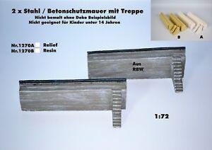 Neu Nr.1270A 2 x Stahl/Beton-Schutzmauern(2) mit Treppe 1:72 für Diorama