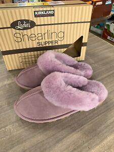 NEW Women's Kirkland Signature Shearling Indoor Outdoor Slippers Mauve Pick Size