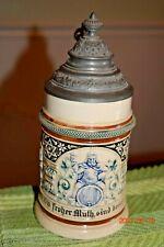 Antique Gambrinus & Gnomes German Beer Stein, Reinhold Hanke, Ornate Lid, Mint