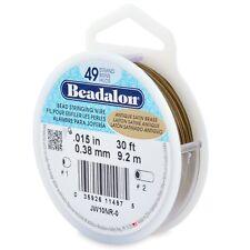"""Beadalon Antique Satin Brass .015"""" Bead Stringing Wire 49 Strand Flex Wire  30ft"""