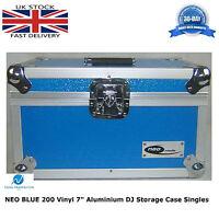 "NEO Aluminium Blue DJ Flight Case Store 200 Vinyl Singles 7"" Records + Partition"