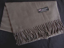 100% Cashmere Winter Scarf Scarve Scotland Warm Solid Charcoal Gray Shawl NEW