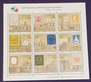 Foglietto francobolli Italia - Esposizione Mondiale Filatelia 1985