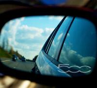 FIAT 500 WING MIRROR – ETCHED GLASS CAR VINYL DECALS-STICKERS x3 – 7 YR VINYL