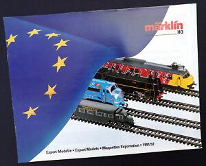 """Märklin Eisenbahn Katalog """"Export-Modelle 1991/92"""", DIN A4, 16 Seiten, Neu!"""