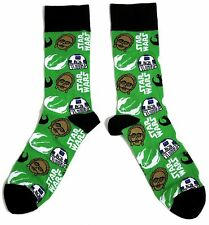 MENS / GENTS STAR WARS MULTIPLE CHARACTER GREEN SOCKS ONE SIZE UK 9-12 BNWT