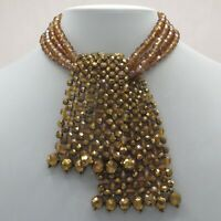Vintage 1960s Coppola e Toppo AB Caramel Art Glass Bead Lariat Tie Necklace