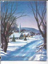 4x5 Christmas card 1940s era, winter snowy town with church rust craft card