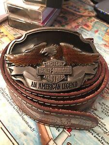 Ceinture Harley Davidson Harmony avec boucle rare et ceinturon cuir original.