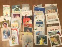 Lot 45 Greeting Cards Vintage Midcentury Christmas Birthday Valentine Birth