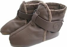carozoo booties dark brown 12-18m soft sole leather baby shoes