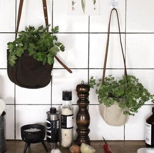 Sandqvist Linnea Small Canvas Plant Pot (10 cms) Holder Brown/Black