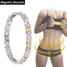 Lady Bracelet Titanium Magnetic Sliver BIO Therapy Arthritis Pain Relief Health