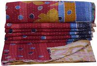 INDIAN VINTAGE KANTHA THROW RALLI QUILT BEDSPREAD Ethnic Blanket Decor India Art