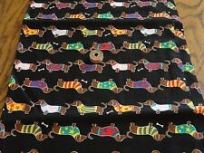 """Cotton Fabric Lot Remnants 6 Pcs Avg 10""""Wx16""""L Dash Hounds in sweaters too cute"""