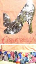 Disney Cinderella! Movie 2015! T Tee Shirt Top! Sequin Glass Shoe! Butterflies!