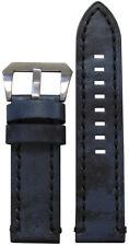 22mm Panatime Vintage Denim Leather Watch Band w/ Black Stitching 22/22 125/75