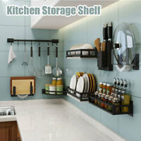 Stainless Steel Spice Pot Rack Wall Holder Storage Bar Hanging Shelf Kitchen USA