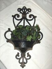 Vintage Homco Home Interiors Large Wall Hanging Planter Black & Gold Gothic