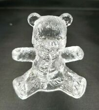 Vintage Clear Glass~Sitting Teddy Bear Paperweight Figurine 3'' tall
