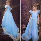 Mädchen Disney Cinderella Prinzessin Kleid Kinder Tüll Cosplay Kostüm Gr.104-152