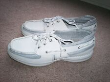 MENS SIZE 11 ROCKPORT XCS  LEATHER WHITE CASUAL BOAT  SHOES