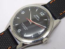 hmt pilot hand winding men's steel black dial vintage india watch run order-q2