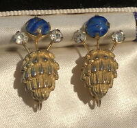 Vintage Signed De Nicola Bug Faux Lapis Clip On Earrings