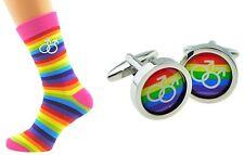 Mens Rainbow Striped Design Ankle Socks + Cufflinks. Weddings etc  X6N552/BOB030