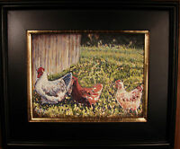 Impressionist PAINTING Farm Country LANDSCAPE Chicken Framed Wall ART FOLTZ
