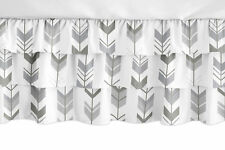 Mod Arrow Grey and White Woodland Ruffled Tiered Baby Girl Ruffle Crib Bed Skirt