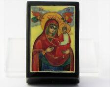 Boîte bijoux collection décor 6x4 miniature laquée icône PALEKH peint main signé